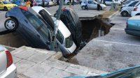 Απίστευτες εικόνες στην Καλλιθέα: Βούλιαξε υπαίθριο πάρκινγκ και «κατάπιε» αυτοκίνητα!