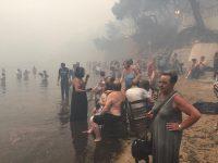 , Συγκλονιστικές φωτογραφίες από το Μάτι: Καταφύγιο στην παραλία για εκατοντάδες τρομοκρατημένους πολίτες