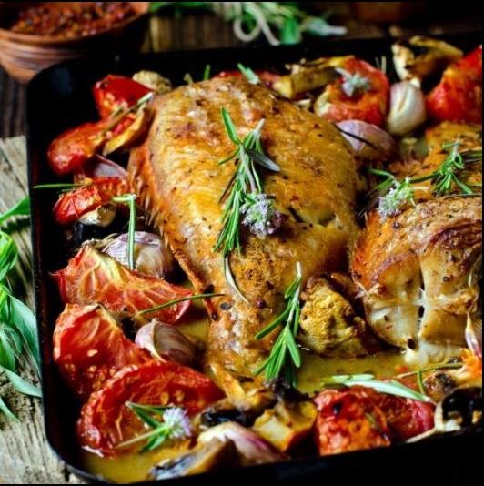 , Λαβράκι στο φούρνο με λαχανικά