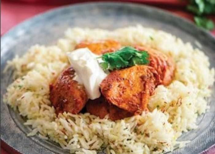 Κοτόπουλο ταντούρι με ρύζι μπασμάτι